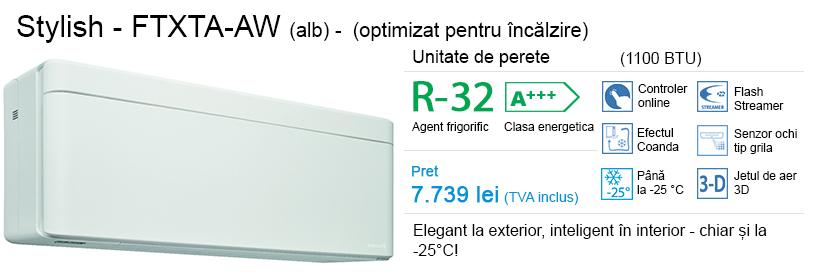 Daikin Stylish (optimizat pentru încălzire) – FTXTA-AW